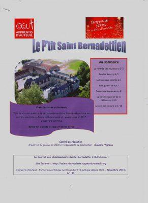 journal p'tit Saint bernadettien nov 2016